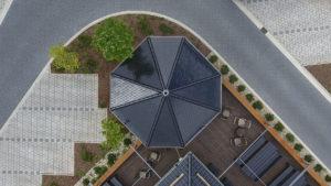 Architekturfotografie, Drohne: Dach Pavillon   Foto: Dieter Eikenberg, imprints