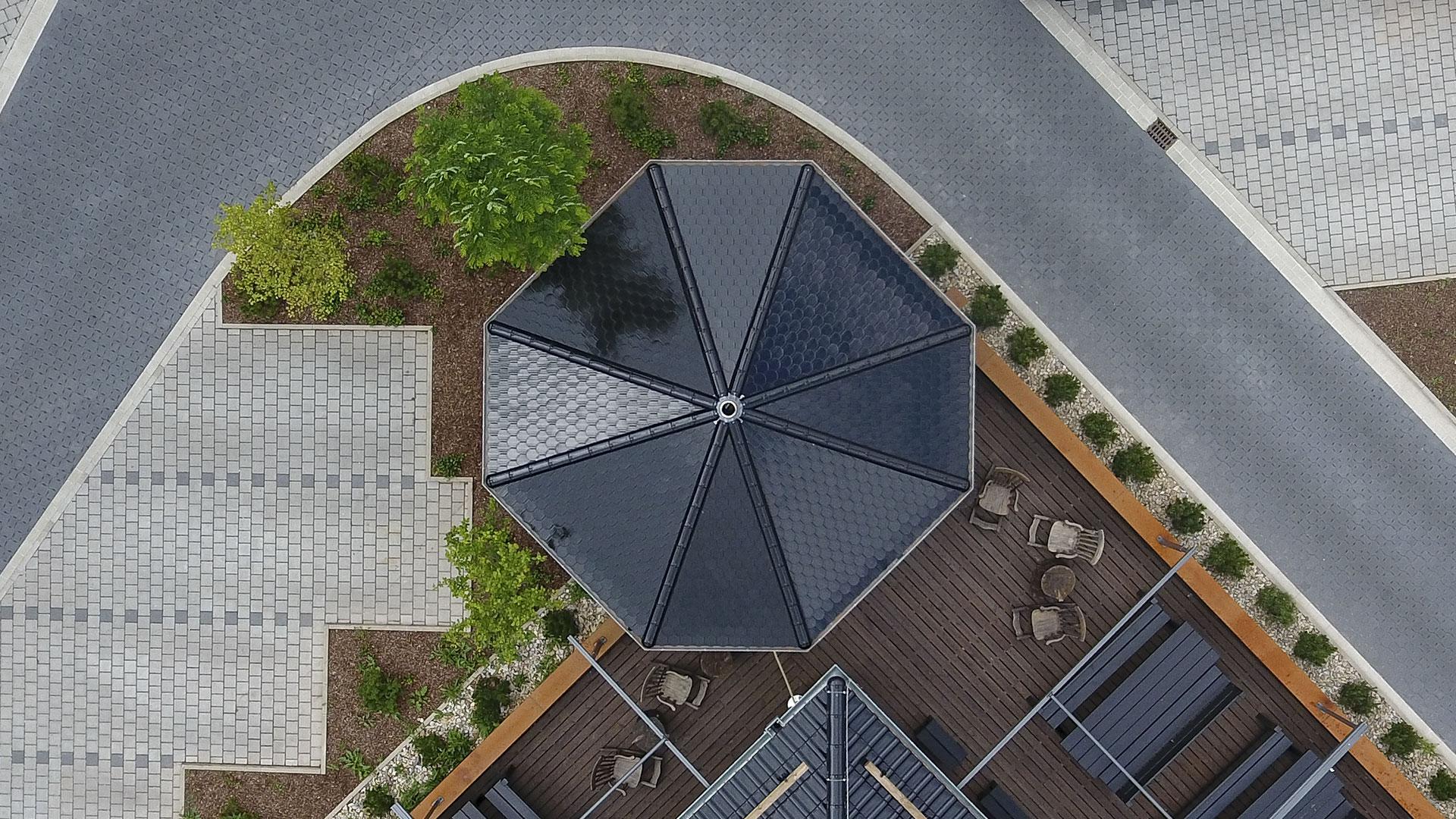 Architekturfotografie, Drohne: Dach Pavillon | Foto: Dieter Eikenberg, imprints