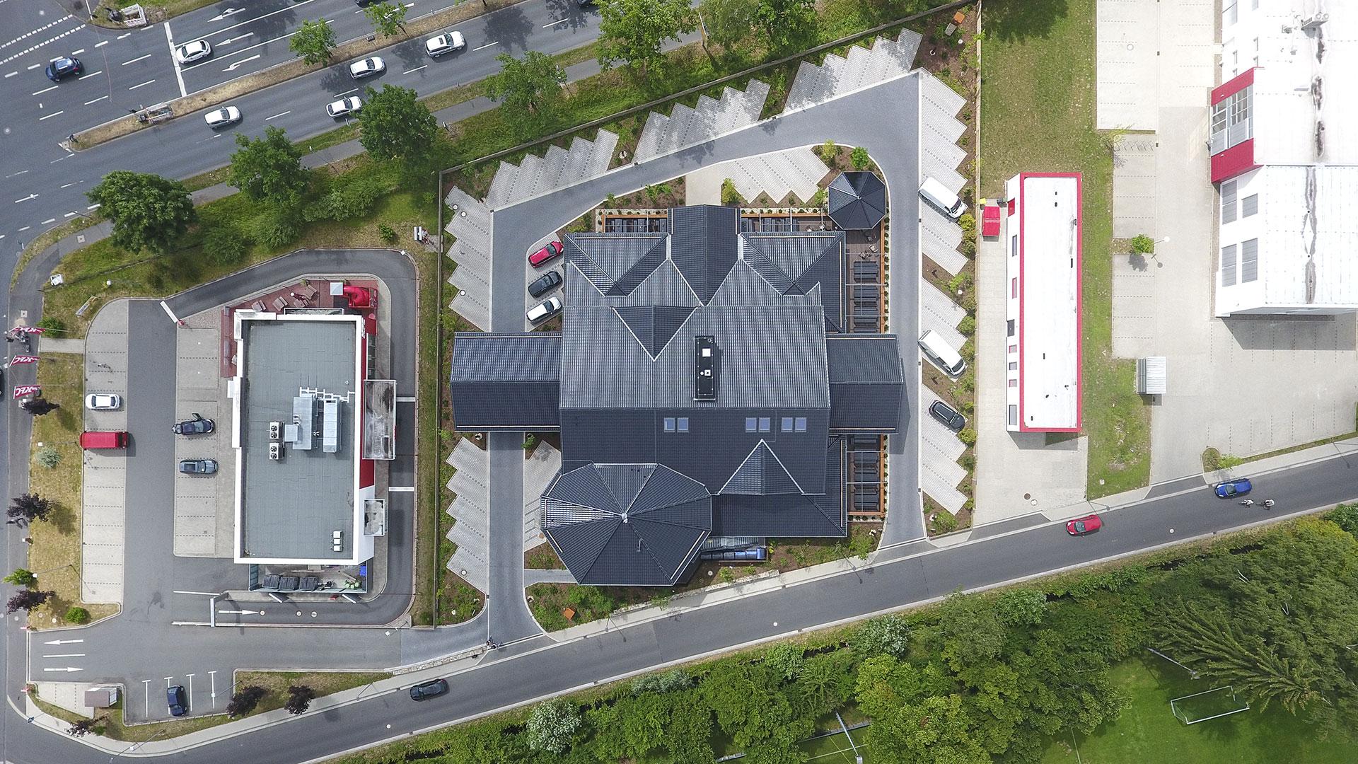 Architekturfotografie, Drohne: Dach Steak-Haus | Foto: Dieter Eikenberg, imprints
