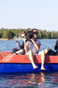 Kamerafrau am Bergwitzsee