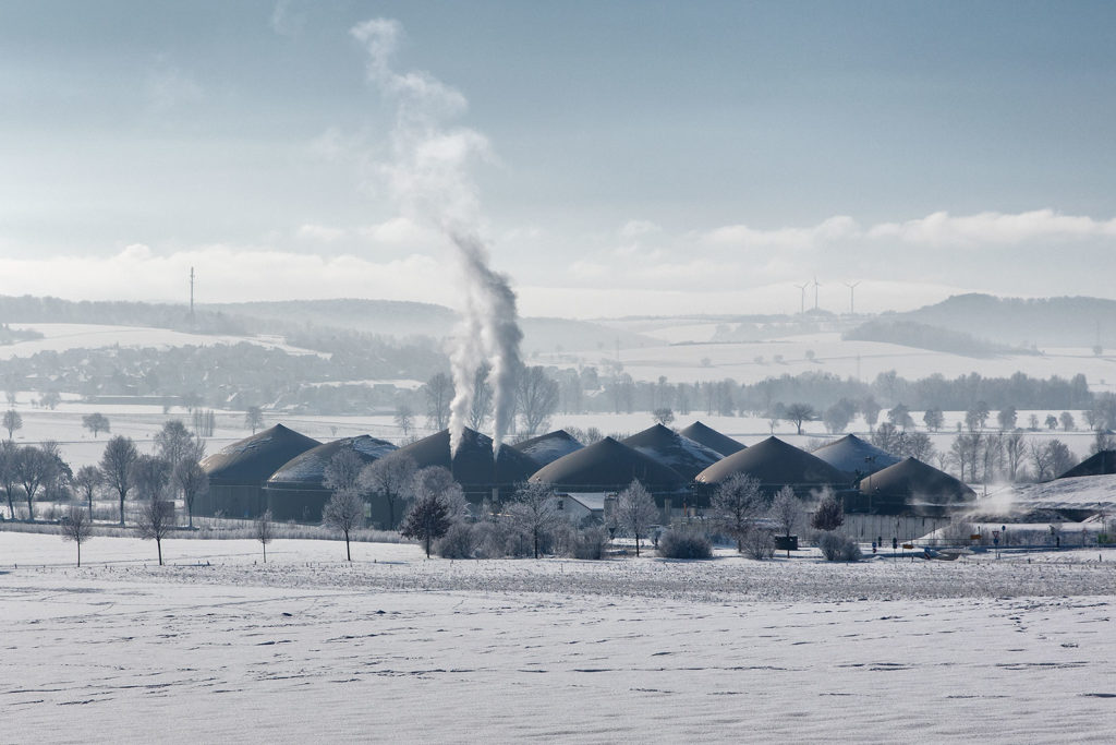Biogas Rosdorf im Schnee