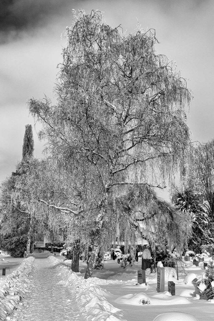 Rosdorfer Friedhof im Schnee